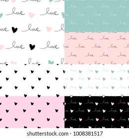 Romantic Set of 7 Seamless Patterns with hand written words Love and ink hearts. Happy Valentine's Day vector illustration trendy design. Backdrop for wrapping paper, invitations, greeting card