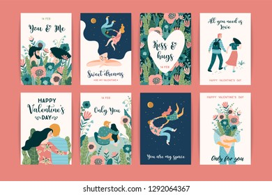 Romantic set of cute illustrations. Love, love story, relationship. Vector design concept for Valentines Day and other users.