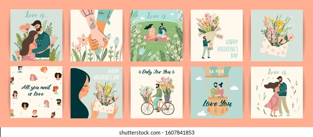 Romantic set of illustrations with man and woman. Love, love story, relationship. Vector design concept for Valentines Day and other users.