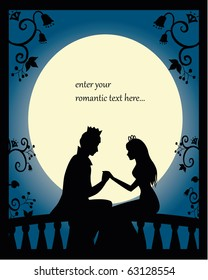 romantic silhouette of lovers on a balcony at night