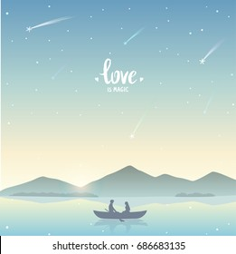 Romantic silhouette of loving couple in a boat during the stargazing. Valentines Day. Happy Lovers. Vector illustration. Beautiful view at sunset