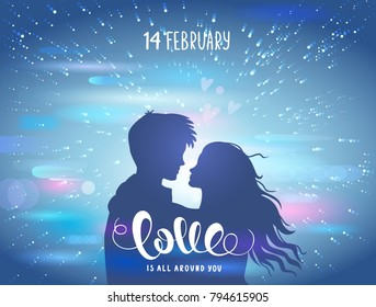 Romantic silhouette of loving couple at night with blur background street light. Valentines Day 14 February. Happy Lovers. Vector illustration