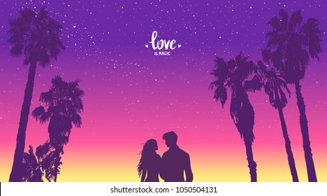 Romantic silhouette of loving couple at scenic sunset on tropical beach with palm trees. Happy Lovers. Vector illustration