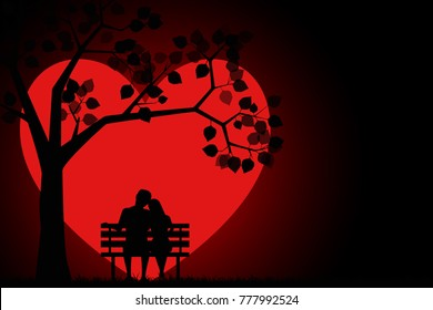 Romantic silhouette of loving couple sitting on a bench under a tree on a background of the moon in the shape of a heart. Valentines Day Card. Happy Lovers. Vector illustration