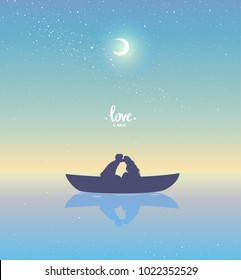 Romantic silhouette of loving couple at sunset in a boat. Valentines Day. Happy Lovers. Vector illustration. Beautiful view at sunset