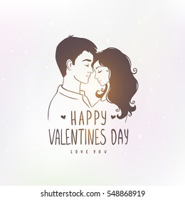 Romantic silhouette of loving couple at sunset with text. Valentines Day. Happy Lovers. Vector illustration