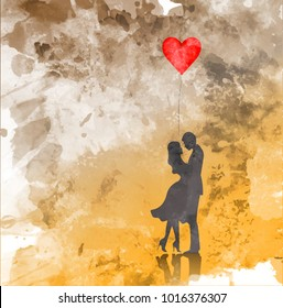 Romantic silhouette of loving couple. Valentines Day 14 February. Happy Lovers. Vector illustration, watercolor style
