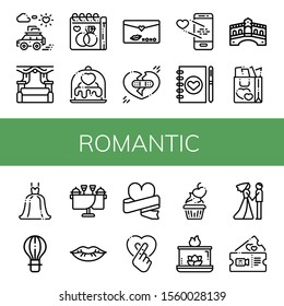 romantic simple icons set. Contains such icons as Honeymoon, Wedding, Wedding day, Love, Love letter, Broken heart, Wedding planner, Rialto bridge, can be used for web, mobile and logo