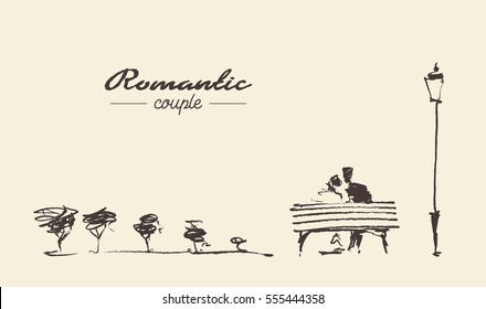 Romantic sketch of loving couple on the bench, hand drawn, sketch
