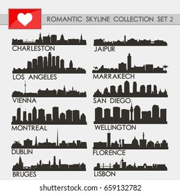 Romantic Skyline City Silhouette Design Collection