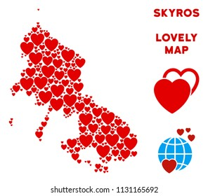Romantic Skyros Greek Island map composition of red hearts. We like Skyros Greek Island map template. Abstract vector area plan is made from red romantic symbols.