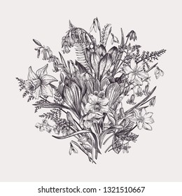 Romantic spring bouquet of flowers. Meadow and garden plants. Vintage engraving style. Vector botanical illustration. Black and white.