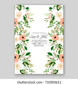 Romantic Spring floral of rustic flowers background for wedding invitation vector template card Cream rose