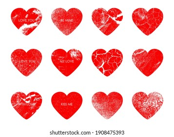 Romantic stamps hearts, a set of stamps for envelopes, postcards and letters. Valentine's Day, love letters. White background. Prints for postcards, letters and greetings. Red hearts