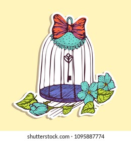 Romantic Sticker Cartoon Cage in the Garden among the flowers. Key and Bant. Use for Your Design. Image is grouped and convenient to use. Colorful hand drawn vector stock illustration.
