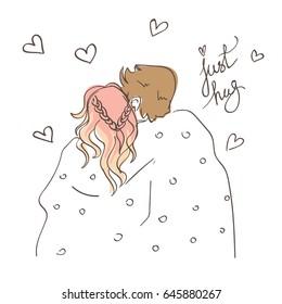 Romantic style sweet couple hugging