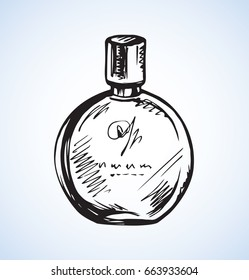 Romantic stylish round odour make spirit flask isolated on light backdrop. Freehand linear black ink hand drawn sign sketchy in art retro style pen on paper. Close-up view with space for text on label