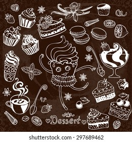 Romantic sweets and pastry set with cute dancing  muffin. Tart, macaroon, icecream, cookie, cake, spices isolated vector illustration. Stylized chalkboard  illustration.