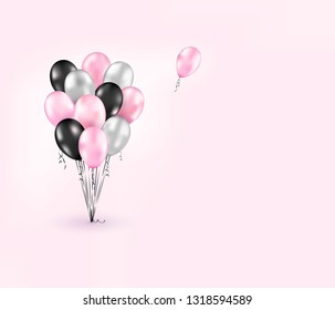 Romantic template with realistic glossy black, silver, pink balloons. Beautiful poster for Womens day, Valentine's day, sale, offers design, party, summer background, clip art, event, wedding. Vector.