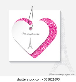 Romantic Template For Valentines Day With Hearts And Eiffel Tower