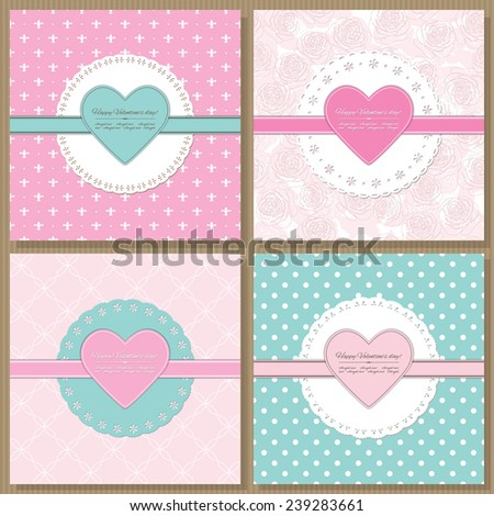 romantic templates scrapbook design pastel colors stock vector