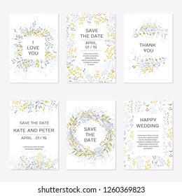 Romantic tender floral design for wedding invitation, save the date, I love you and thank you cards. Floral cards elegant templates. Set cards on white background.Vector illustration