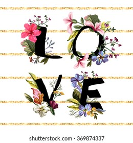 Romantic text with flowers and gold stripes.