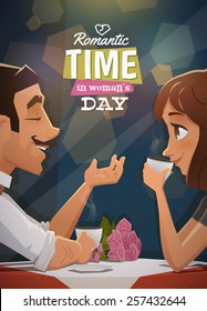 Romantic time in woman day