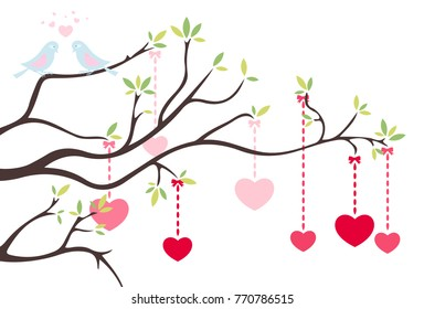 Romantic tree with hearts
