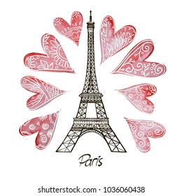 Romantic Valentine background red watercolor heart and Eiffel Tower