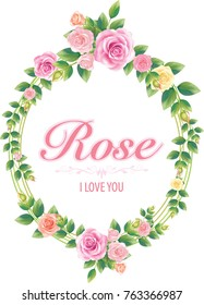 Romantic Valentine card with roses and lettering. Vector illustration.