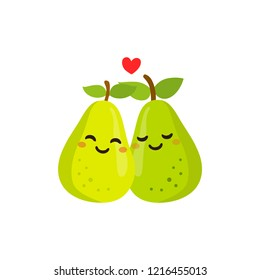 Romantic Valentine's Day Card. Cute Characters. Vector Illustration. Cartoon style. Funny pun quote. Pears.