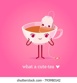 Romantic Valentine's Day Card. Cute Kawaii Characters. Vector Illustration. Cartoon style. Funny pun quote. Tea cup and tea bag.