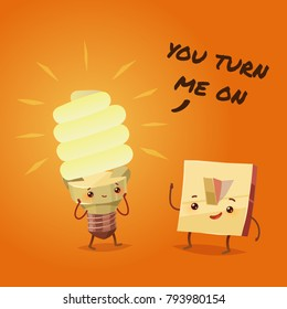 Romantic Valentine's Day Card. Cute Kawaii Characters. Vector Illustration. Cartoon style. Funny pun quote. Light bulb and switch.