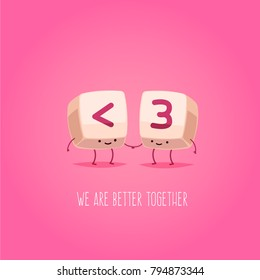 Romantic Valentine's Day Card. Cute Kawaii Characters. Vector Illustration. Cartoon style. Funny pun quote. Keyboard keys.