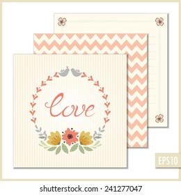Romantic vector card with floral wreath and birds.