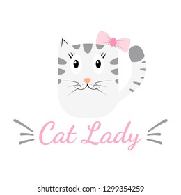 Romantic vector card template, with the image of cat, a poster with the phrase. Beautiful love card. background. Design for t-shirts and prints. Typography card, color image. Wallpaper. For children.