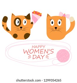 Romantic vector card template, with the image of cats, a poster with the phrase. Beautiful love card. background. Design for t-shirts and prints. Typography card, color image. Wallpaper. For children.