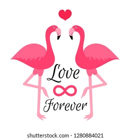 Romantic vector cards template, poster with phrase, Flamingo. Beautiful love card. background. Design for t-shirt and prints. Typography card, color image. Wallpaper.