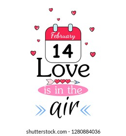 Romantic vector cards template, poster with phrase, calendar. Beautiful love card. background. Design for t-shirt and prints. Typography card, color image. Wallpaper.