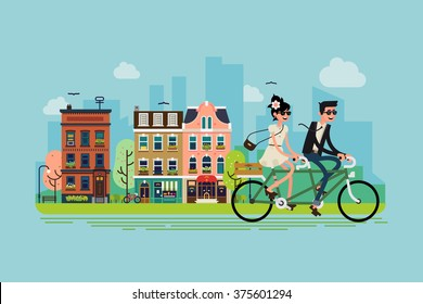 Romantic vector concept illustration on couple going outdoors riding bicycle. Young adult couple riding tandem bike with spring green town street on background