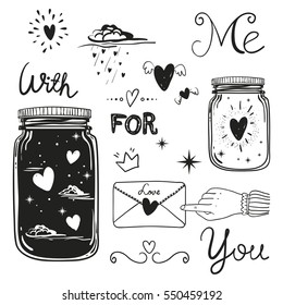 Romantic vector elements. Hand drawn typography, sketched jars and hearts and other objects for valentines card, save the date or wedding card.