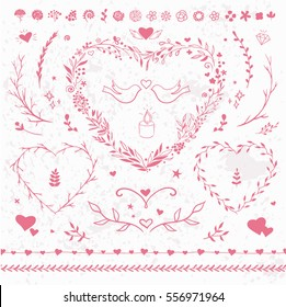 Romantic vector floral set for Valentine's Day. Pink flourishes, hearts, wreaths and frames isolated on white.