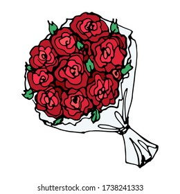 romantic vector hand-drawn cartoon large bouquet of red roses. a single decorative doodle element isolated on a white background