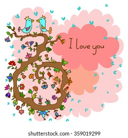 Romantic vector illustration with lovely birds and floral background