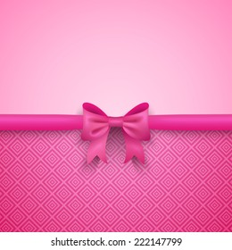 Romantic vector pink background with cute bow and pattern. Pretty design. Greeting card wallpaper for valentine day, birthday or woman day.