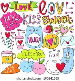 Romantic vector set. Love. Kiss. Cute. Sweet.