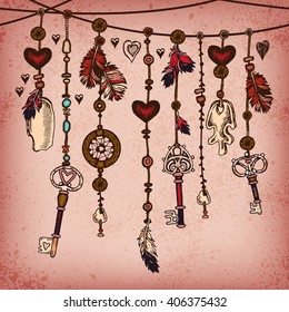 Romantic vintage background with ethnic feathers and ethnic elements. Ethnic tribal border in native style. Borders with feathers and stripe. Tribal theme. Romantic