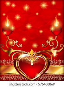 Romantic vintage background with hearts and ornament. Red velvet hearts on a vertical background Valentine's Day greeting card illustration