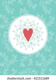 Romantic vintage card. Hand drawn vector floral illustration . Wedding style.
